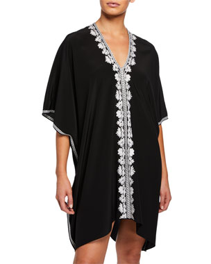 4146b4bd24eba Marie France Van Damme Short Embroidered Boubou-Coverup Dress