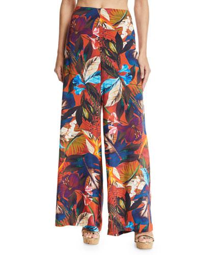 Imaginable Floral-Print Wide-Leg Coverup Pants
