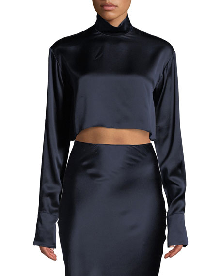 Sablyn ALEXIS HIGH-NECK CROPPED LONG-SLEEVE TOP