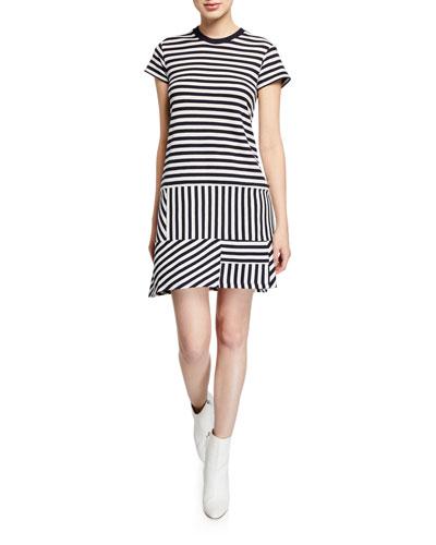 Striped Pique Short-Sleeve Tee Dress