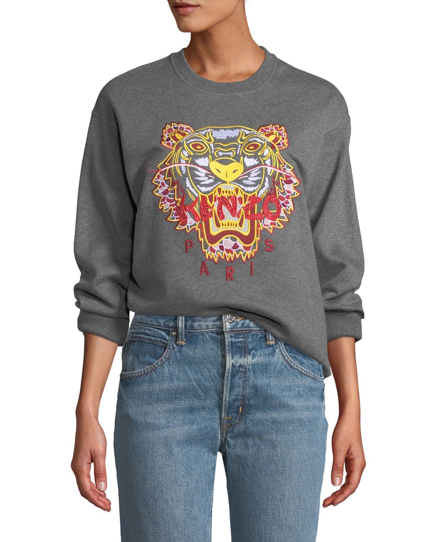 ba6c4f5445e18 Kenzo Dragon Tiger Logo Crewneck Pullover Sweatshirt | Neiman Marcus