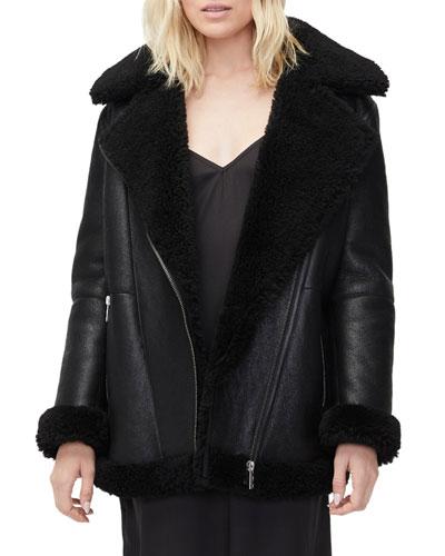 Arrabela Lamb-Shearling Trim Moto Jacket