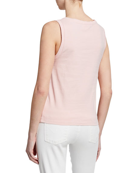 Image 2 of 3: Sleeveless Cotton Crewneck Muscle Tee