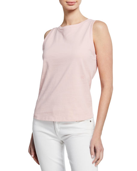 Image 1 of 3: Sleeveless Cotton Crewneck Muscle Tee