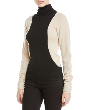 9e977d66a55 Helmut Lang Colorblock Lambs Wool Turtleneck Sweater