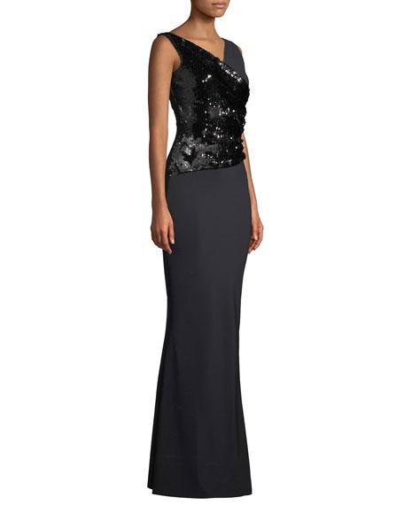Chiara Boni La Petite Robe Hilaria Sleeveless Sequin Wrap Gown