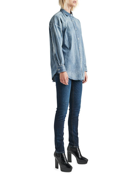 Image 2 of 3: Hudson The Button Up Raw-Edge Chambray Shirt