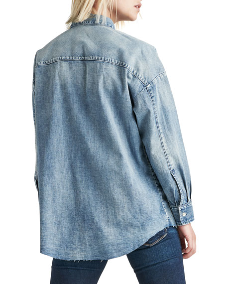 Image 3 of 3: Hudson The Button Up Raw-Edge Chambray Shirt