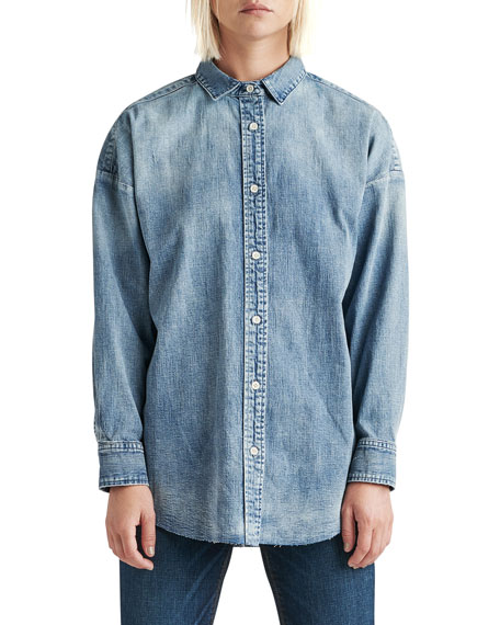 Image 1 of 3: Hudson The Button Up Raw-Edge Chambray Shirt