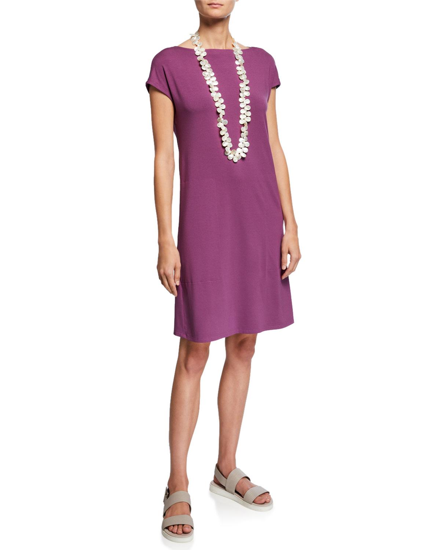 Eileen Fisher Plus Size Bateau-Neck Cap-Sleeve Jersey Dress w/ Twist ...