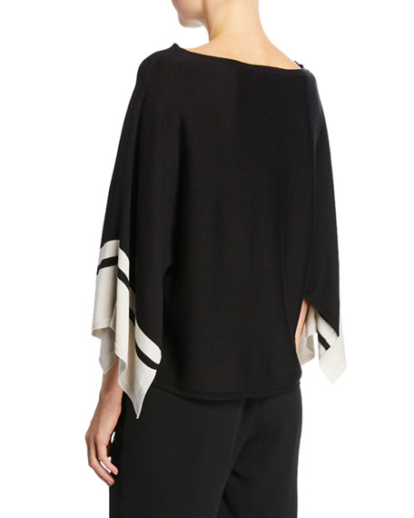 Eileen Fisher Petite Bateau-Neck Striped-Sleeve Sweater