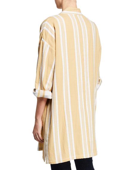Eileen Fisher Striped Open-Front Double-Weave Cotton Kimono Jacket