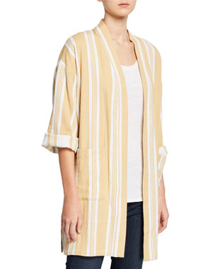 7ac4966124 Eileen Fisher Striped Open-Front Double-Weave Cotton Kimono Jacket