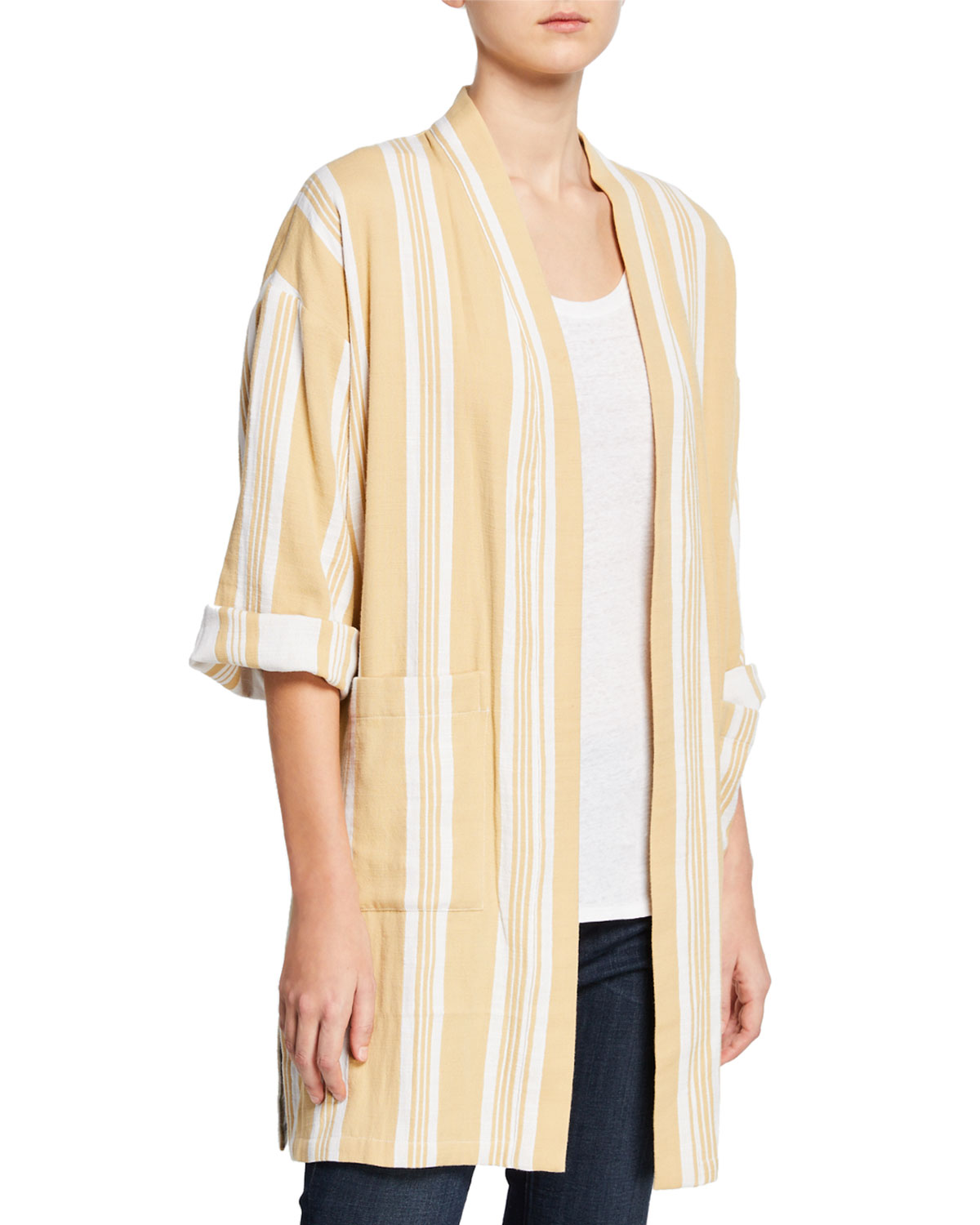 5e3ad909f Eileen Fisher Striped Open-Front Double-Weave Cotton Kimono Jacket ...