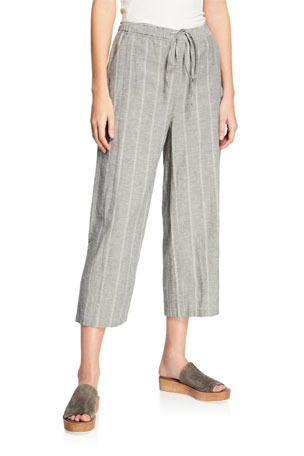 Eileen Fisher Petite Striped Wide-Leg Cropped Drawstring Pants