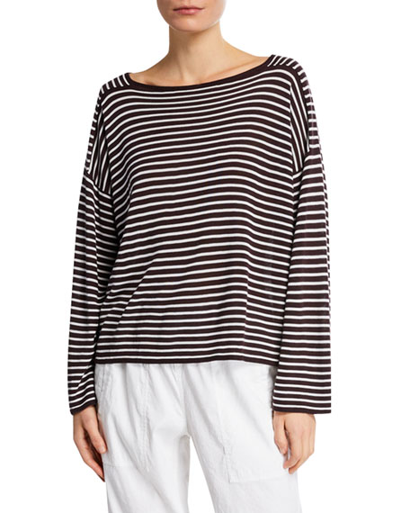 Eileen Fisher Plus Size Bateau-Neck Striped Long-Sleeve Sweater