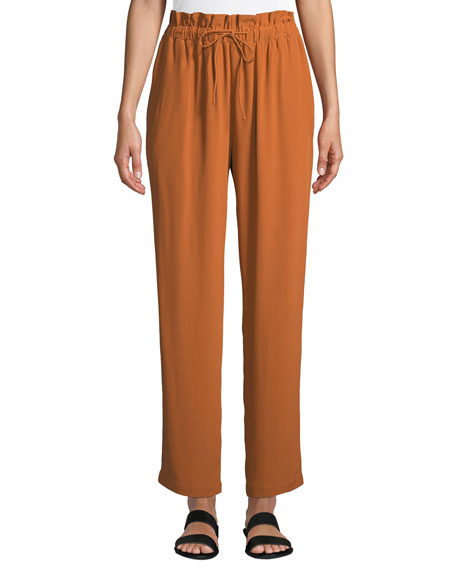 Eileen Fisher Straight-Leg Crepe Ankle Pants w/ Drawstring