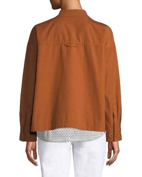 Eileen Fisher Petite Button-Front Long-Sleeve Boxy Canvas Jacket