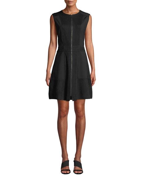 Misook Sleeveless Zip-Front A-Line Dress