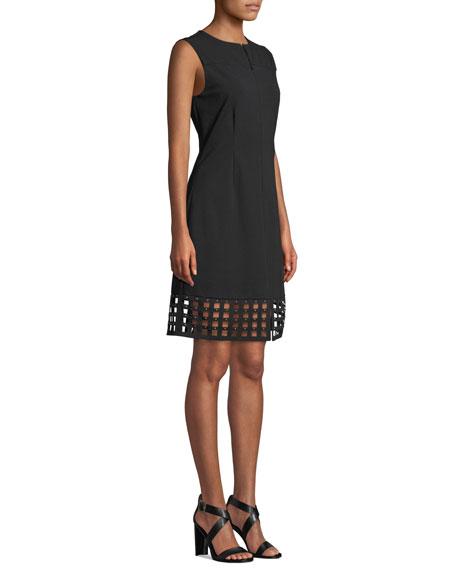 Misook Studded Lattice-Hem Sleeveless Dress