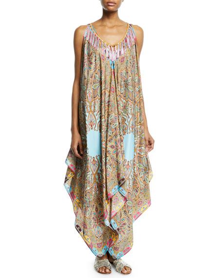 Etro Silk Fringe Printed Handkerchief Dress