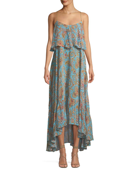 Etro Tiered Viscose Ruffle Sleeveless Midi Dress