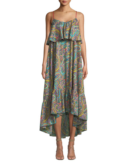 Etro Printed Cotton Tiered Ruffle Midi Dress