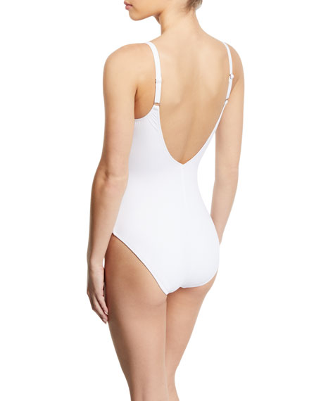 Profile by Gottex Kiss and Tell V-Neck Eyelet One-Piece Swimsuit