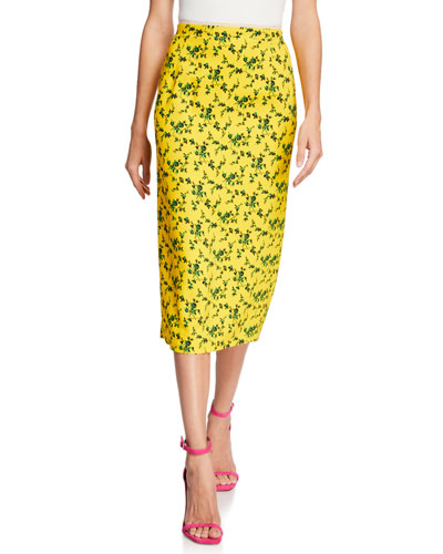 Floral Vented Midi Skirt w/ Colorblock Stripes