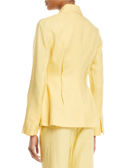 REJINA PYO Etta Linen Notch-Collar Peplum Jacket