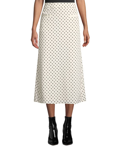 Mina Ruched-Back Polka Dot Midi Skirt