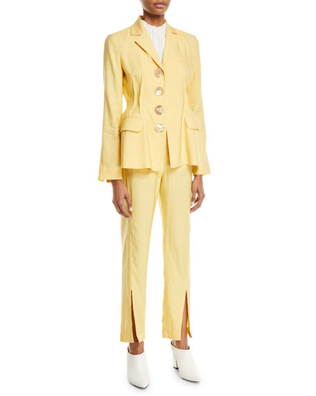 REJINA PYO Miller Slim Slit-Front Linen Trousers