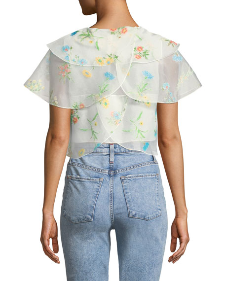 REJINA PYO Jude Tiered Floral Cropped Blouse