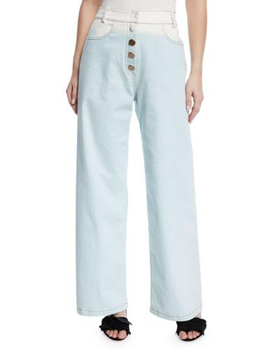 Valeria High-Waist Ombre Wide-Leg Jeans