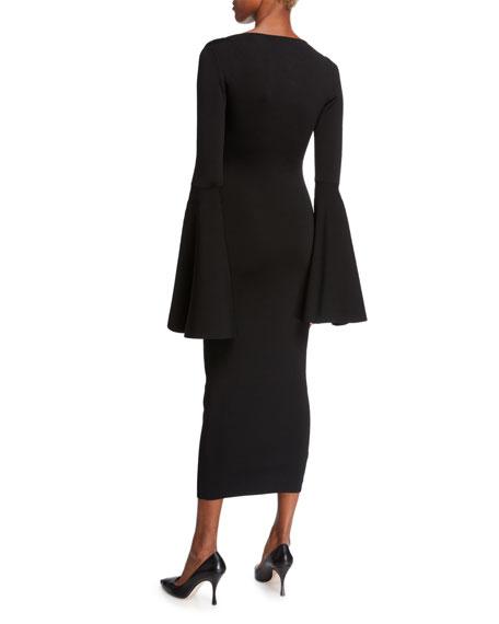 Solace London Serra Scoop-Neck Bell-Sleeve Midi Dress