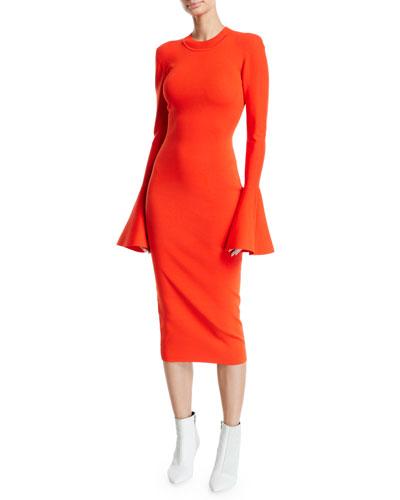 Corvo Crewneck Long Bell-Sleeve Midi Dress