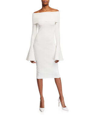 11c63ef6b1 Solace London Mori Off-the-Shoulder Long Bell-Sleeve Body-Con Dress