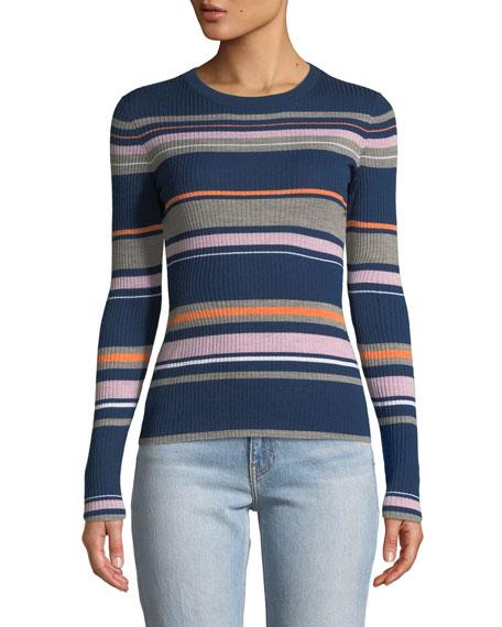 FRAME Panel-Stripe Long-Sleeve Ribbed Sweater