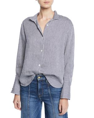 d51d97b9fac FRAME Clean-Collared Striped Linen Button-Down Shirt