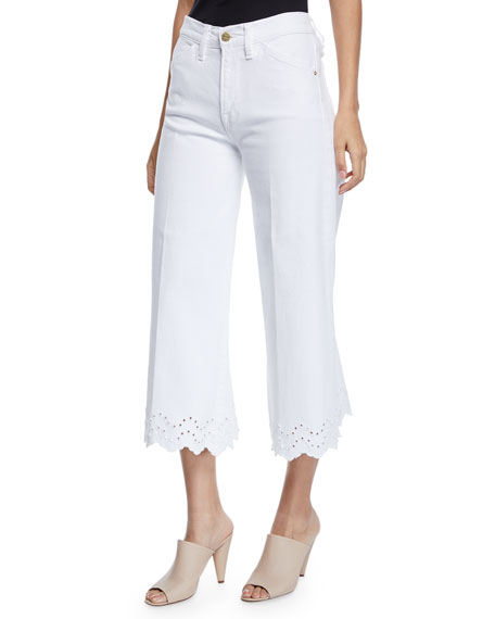 FRAME Schiffly Vintage High-Rise Cropped Jeans with Eyelet
