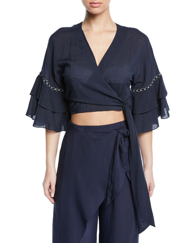 Cropped Ruffle-Sleeve Coverup Wrap Top