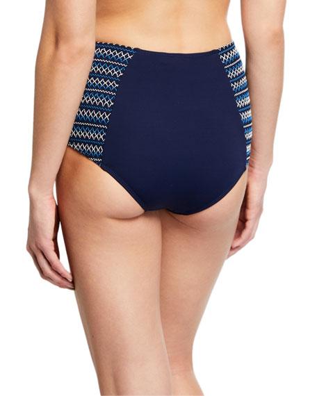 Jonathan Simkhai Smocked High-Waisted Bikini Swim Bottoms
