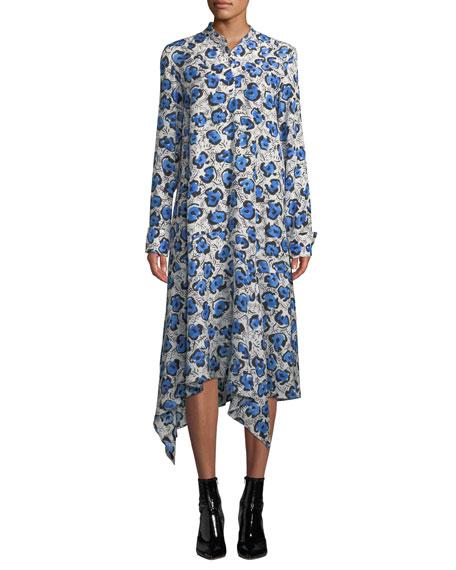 Christian Wijnants Domi Long-Sleeve Floral Handkerchief Shirtdress