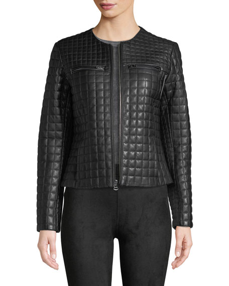 Cole Haan Quilted Collarless Leather Moto Jacket