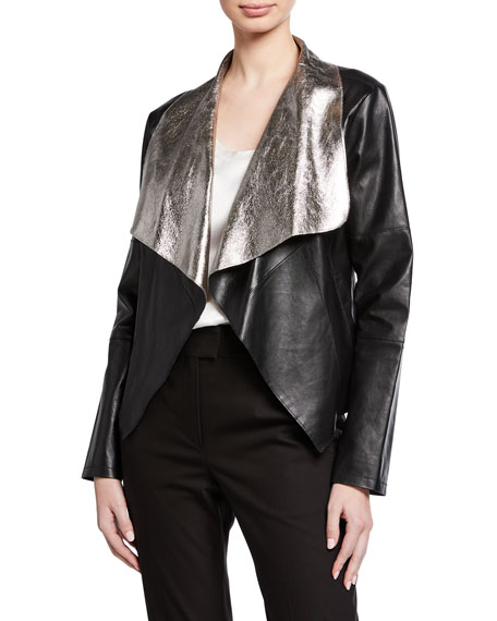Neiman Marcus Leather Collection Open-Front Coconut Crackle Leather Jacket