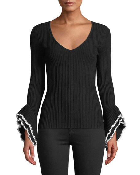 Milly Ribbed V-Neck Sweater w/ Contrast Ruffle-Sleeves