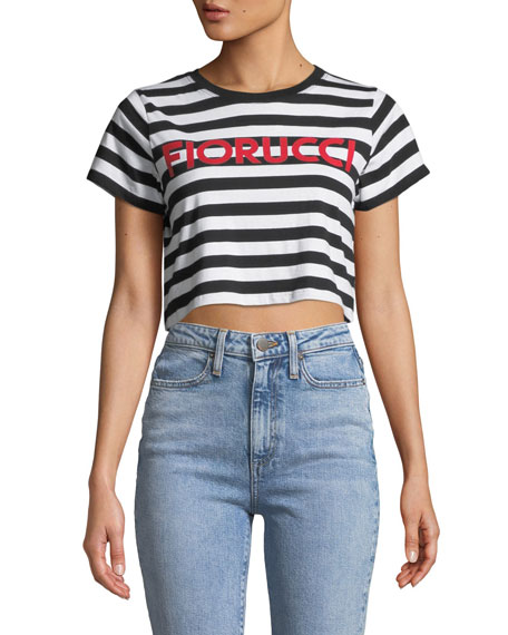 Striped Logo Cropped Tee