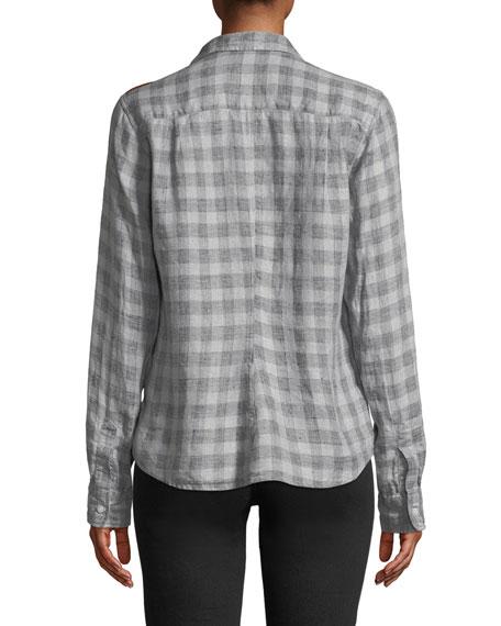 Frank & Eileen Long-Sleeve Plaid Linen Button-Down Top