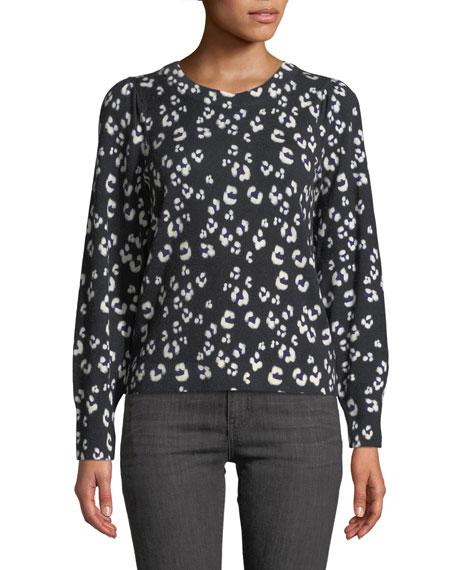 Rebecca Taylor Cheetah-Print Wool Crewneck Pullover Sweater