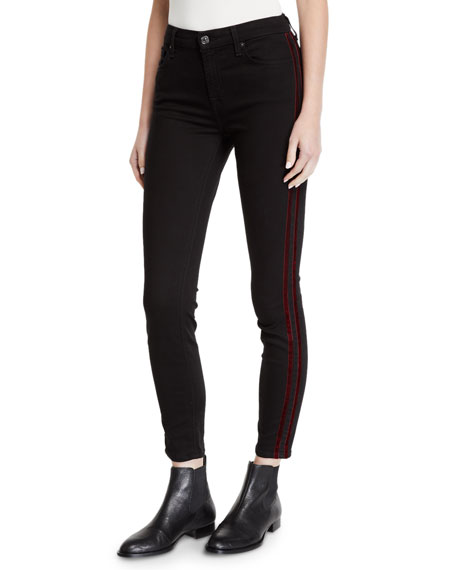 Image 1 of 3: 7 for all mankind Mid-Rise Ankle Skinny with Velvet Side Stripes